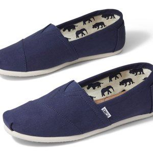 TOMS Men's Classic Slip On Shoes- Navy Canvas